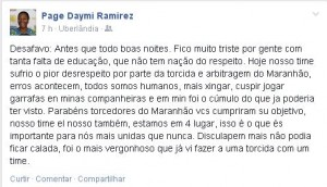 Ramirez criticou torcida do Maranhão no Facebook (Foto: Reprodução/Facebook)