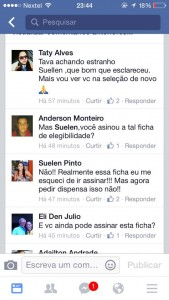 No Facebook, Suelen admitiu que não assinou a ficha de elegibilidade